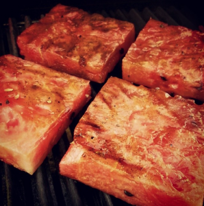 Grilled Watermelon on grill