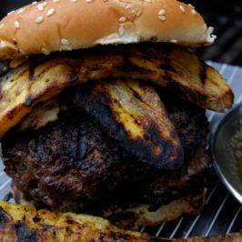 Spicy Chimichurri Burgers With Grilled Plantains